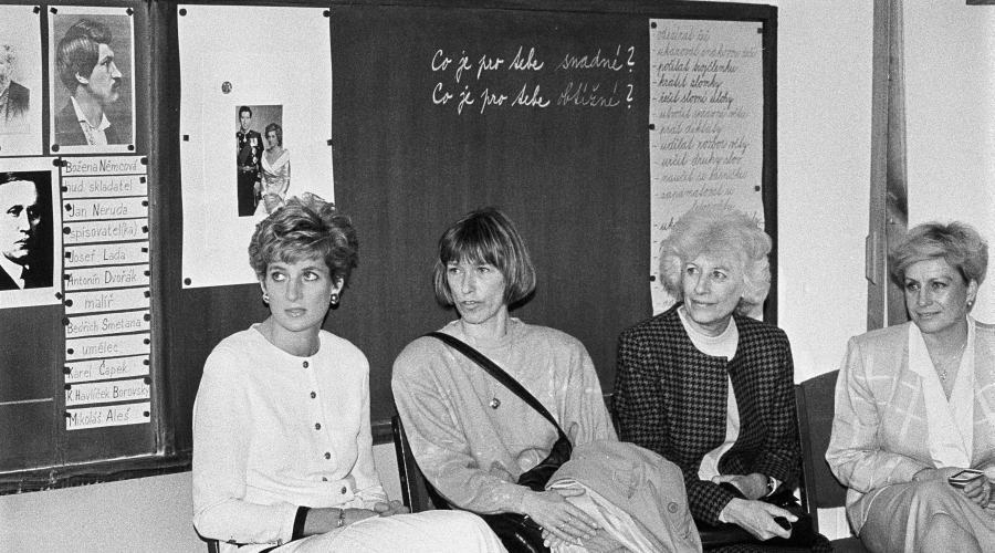 Lady Diana and Vera Caslavska and Olga Havlova